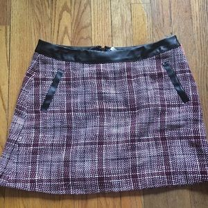 Frenchi plaid skirt with faux leather trim